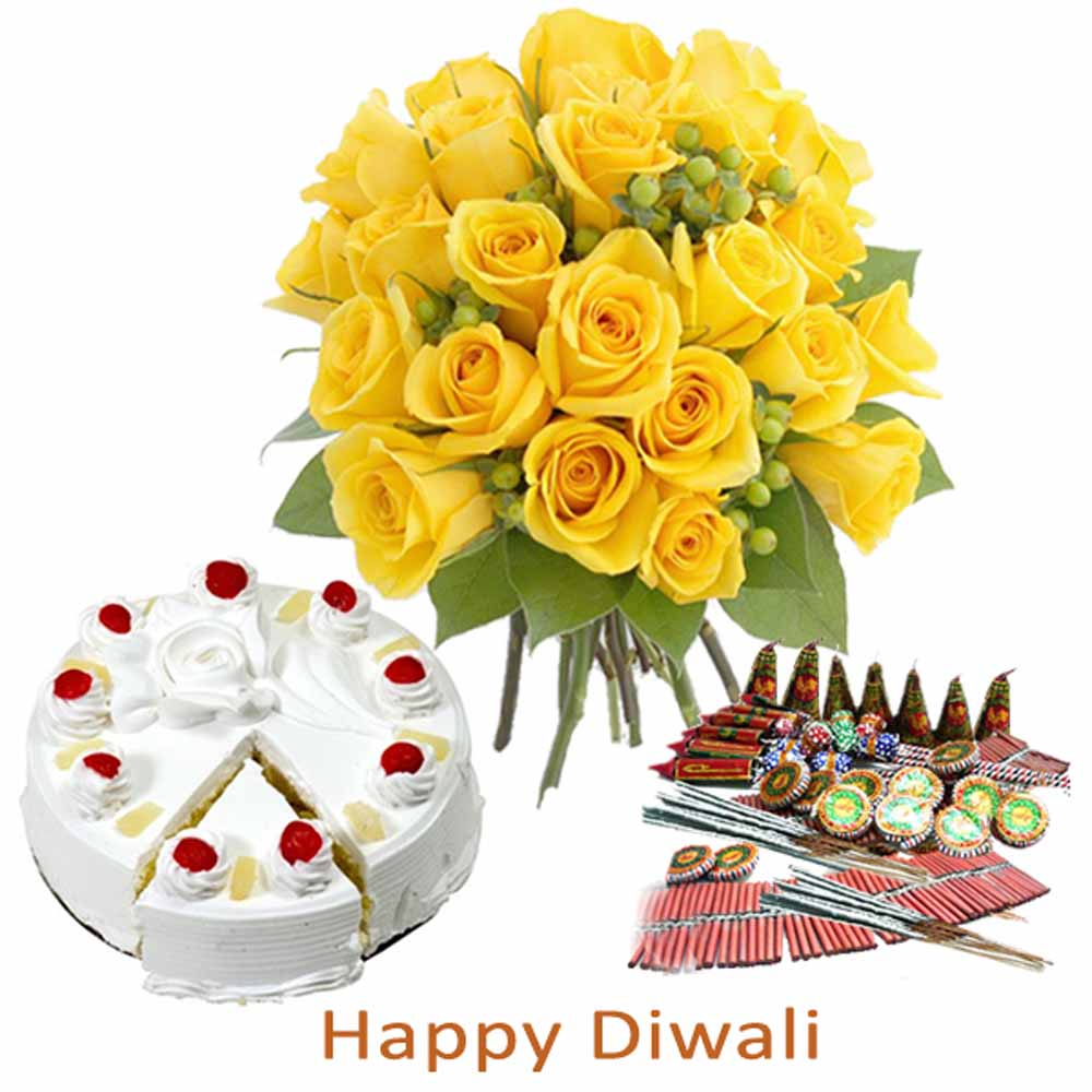 Diwali Firecracker with Pineapple Cake and Yellow Roses