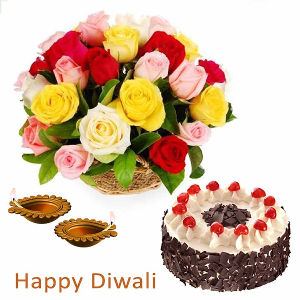 Diwali Gift of Roses and Cake