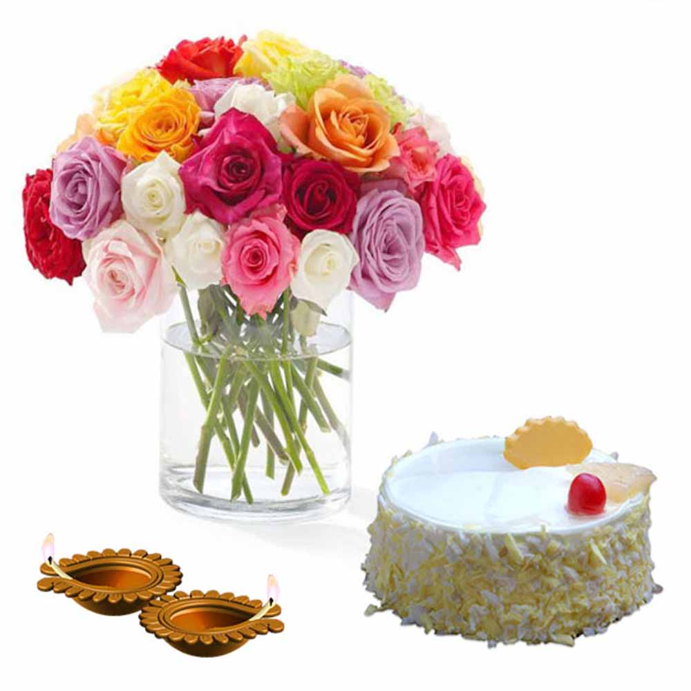 Diwali Treat of Pineapple Cake and Roses
