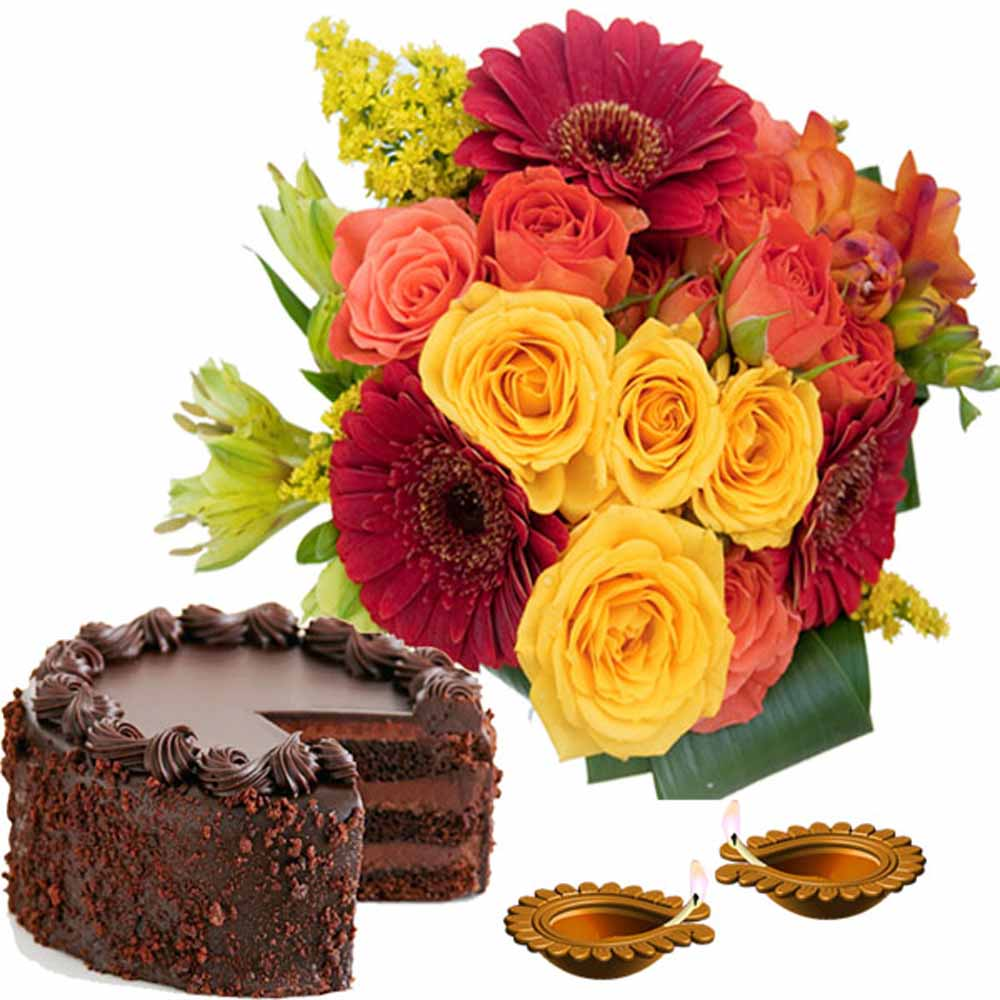 Diwali Gift Combo of Flowers and Chocolate Cake with Diya