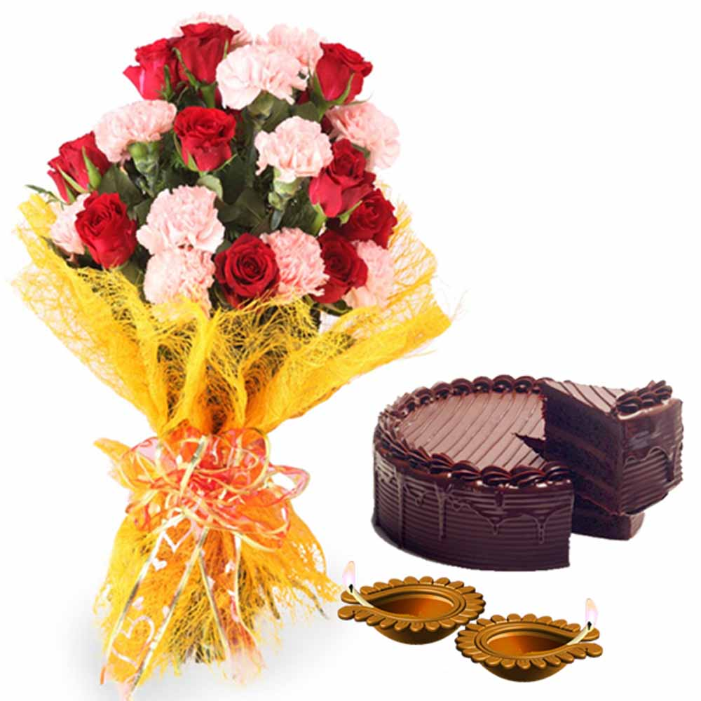 Diwali Decorative Diya with Roses Carnations Bouquet and Cake