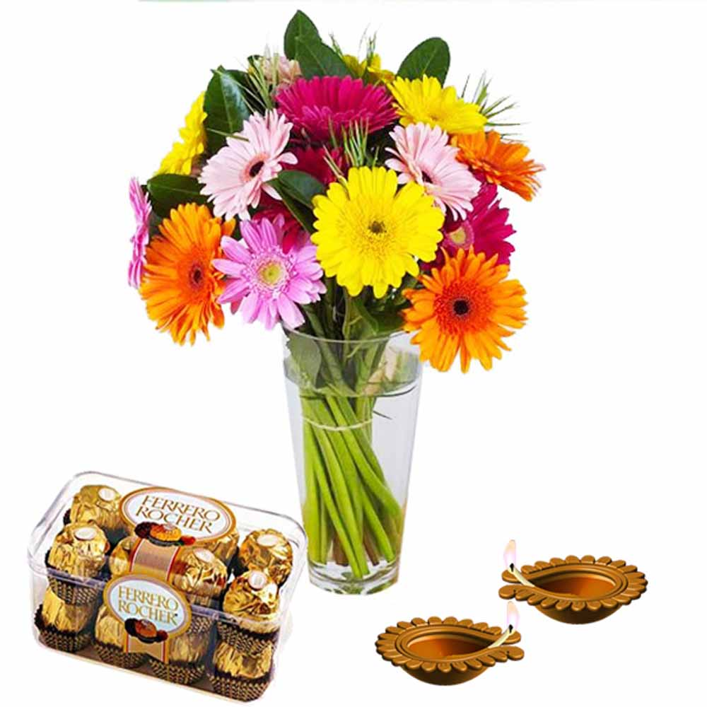 Diwali Diya and Colorful Gerberas with Ferrero Rocher Chocolates