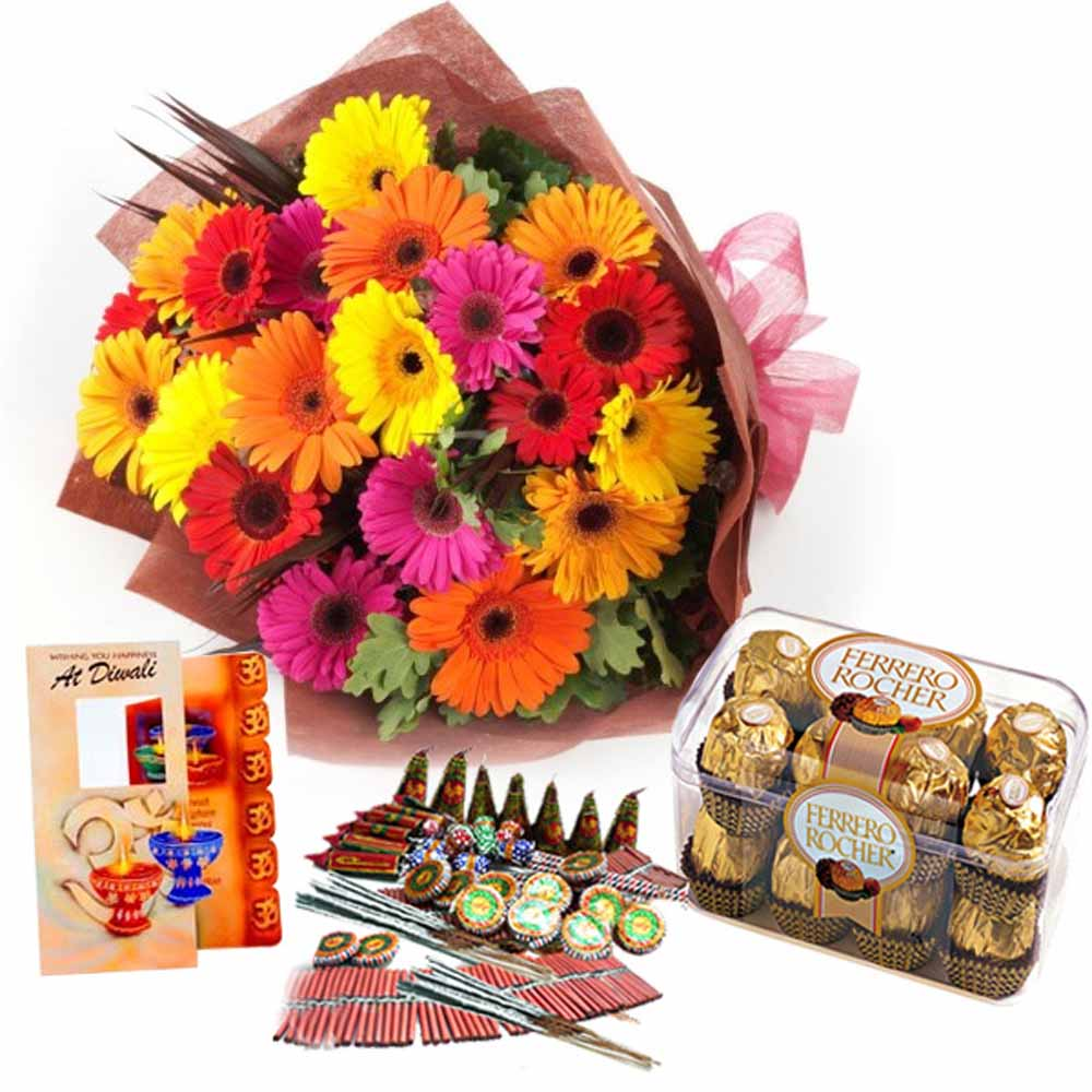 Flowers with Chocolates-Precious Diwali Gift Combo