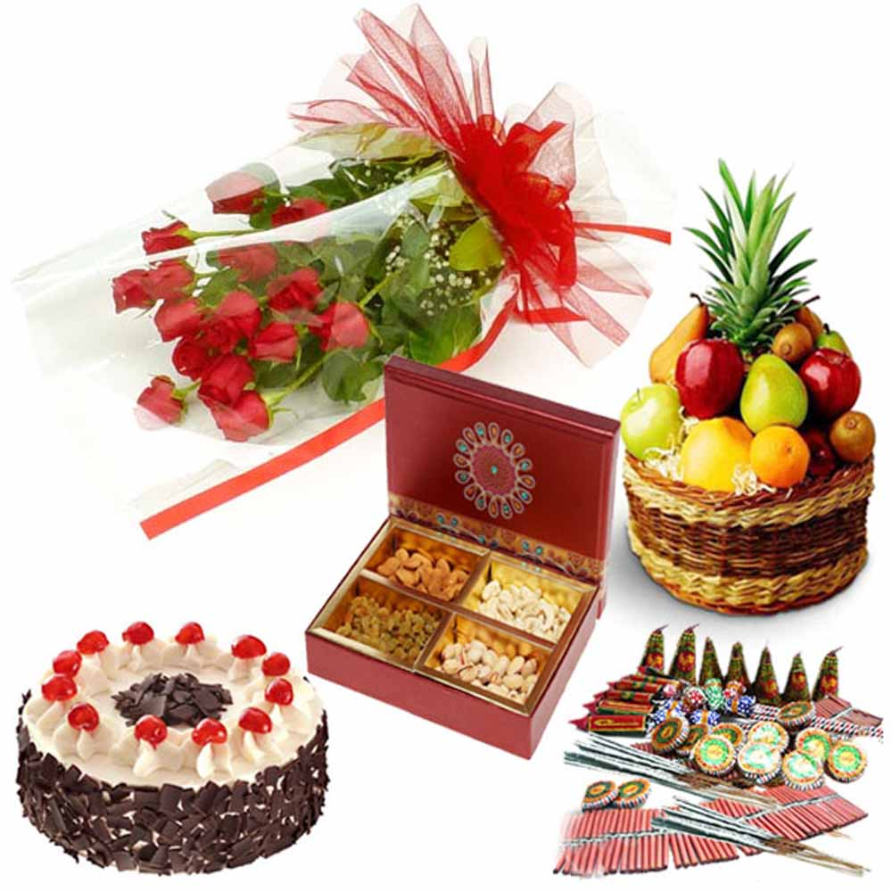 Roses Cake Fresh Fruits Dry Fruits and Diwali Cracker Combo
