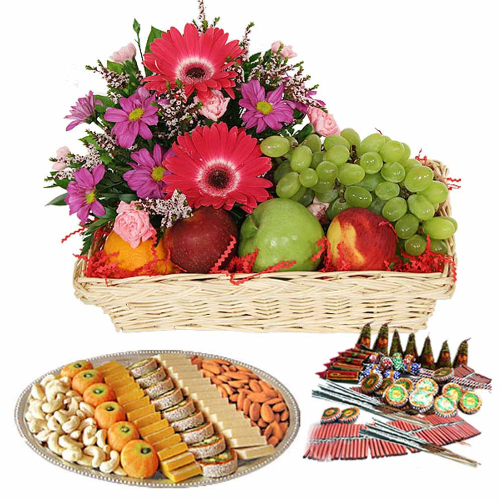 Crackers & More..-Diwali Crackers and Fresh Fruit with Flowers Combo