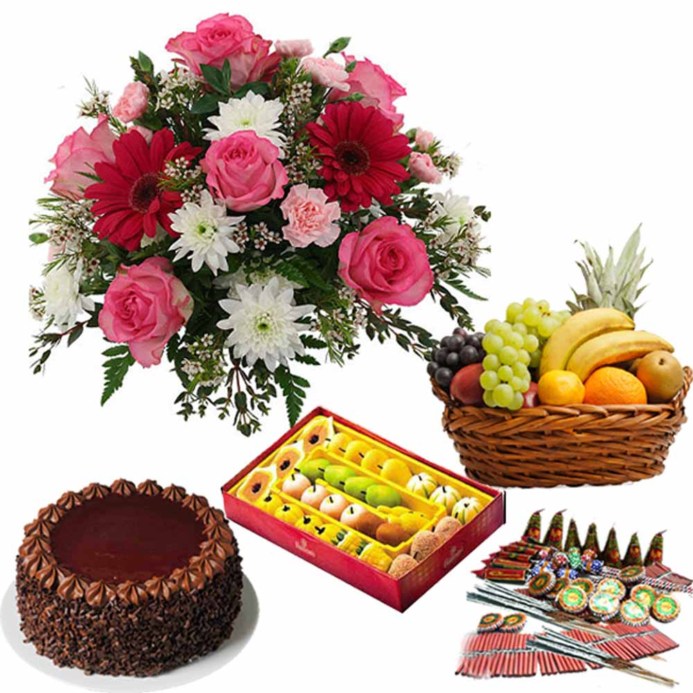 Diwali Sweet Gift of Chocochip Cake and Cracker with Fresh Fruits and Flowers
