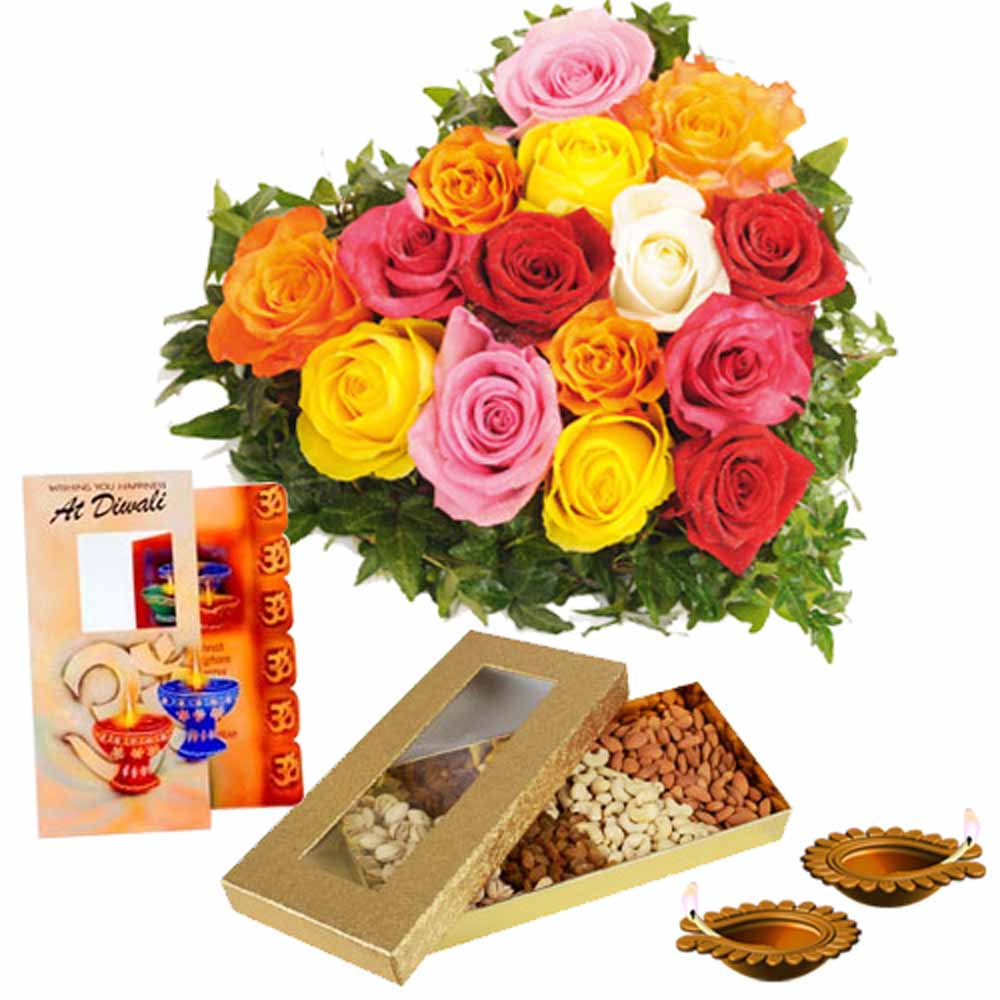 Diwali Diya and Card With Dry fruits and Heart Shape Roses Arrangement