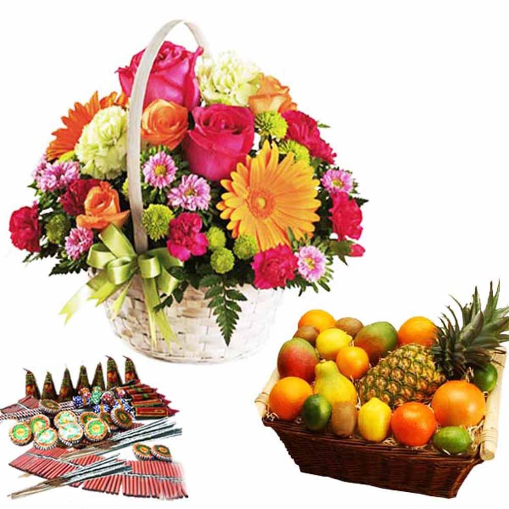 Crackers & More..-Diwali Dhamaka Cracker with Flowers and Fruits