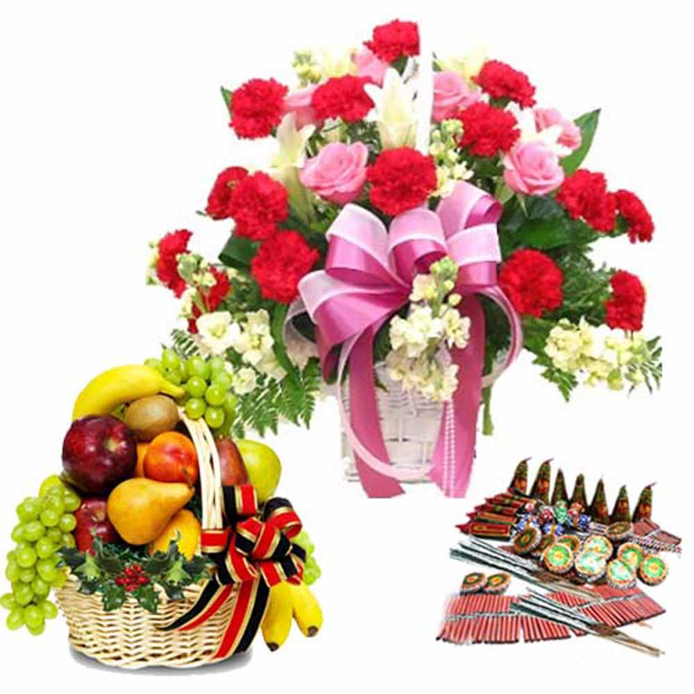Diwali Crackers with Fresh Flowers and Fruits