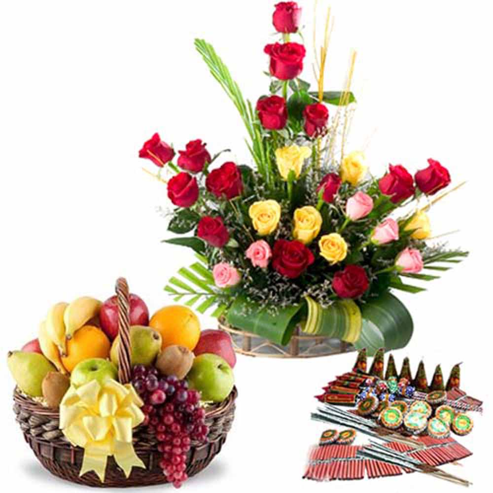 Fresh Roses with Fruits Diwali Crackers Combo
