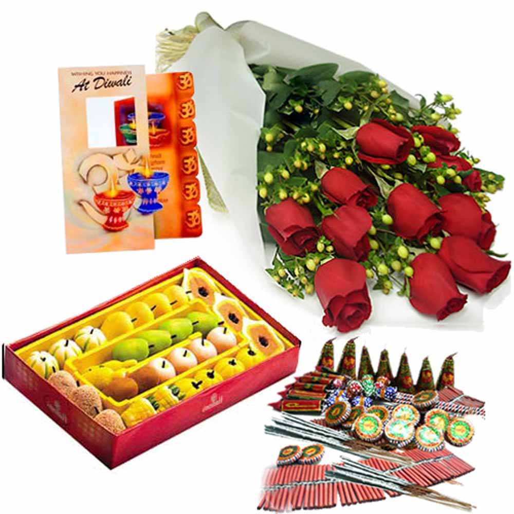 Diwali Combo of Roses and Sweet with Fire crackers and Card