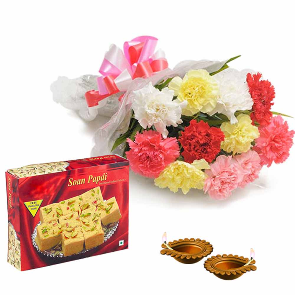Flowers with Chocolates-Combo of Diwali Diya with Carnations and Box of Soan Papdi