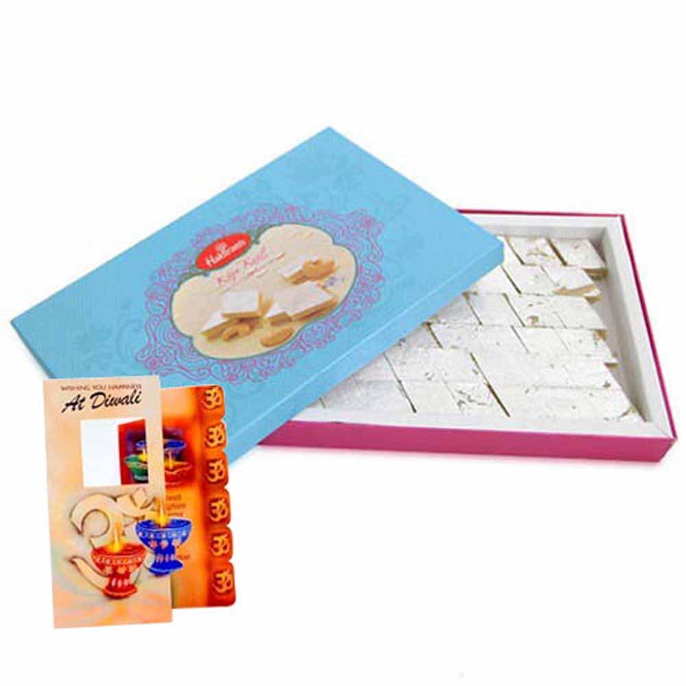 Diwali Card with Kaju Katli Box