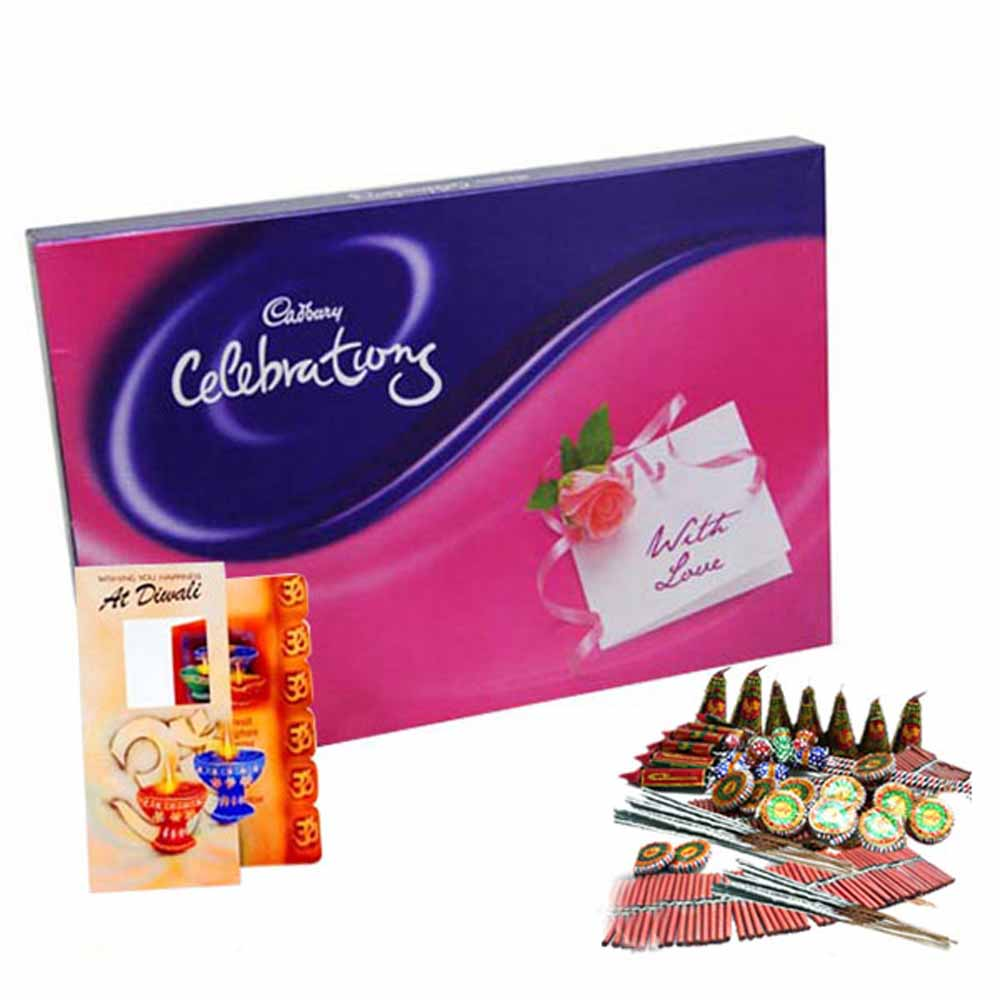 Diwali Gift of Diwali Card and Cadbury Celebration Chocolate with Fire crackers