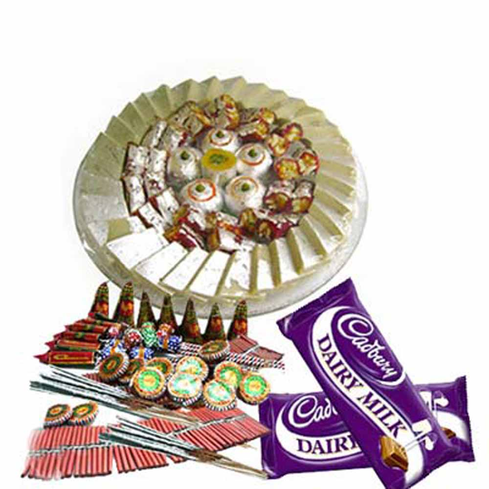 Diwali Gift of Chocolates and Sweet with Firecracker