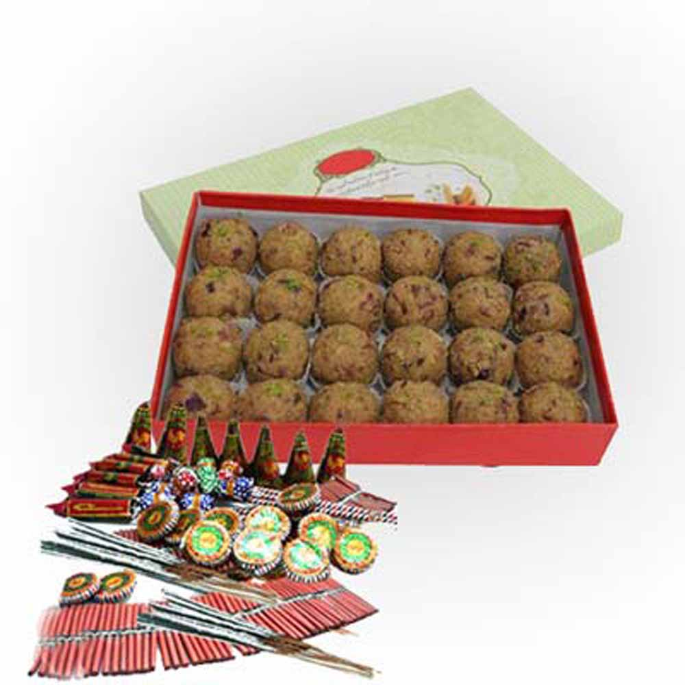 Diwali Hamper of Besan Ladoo and Fire crackers