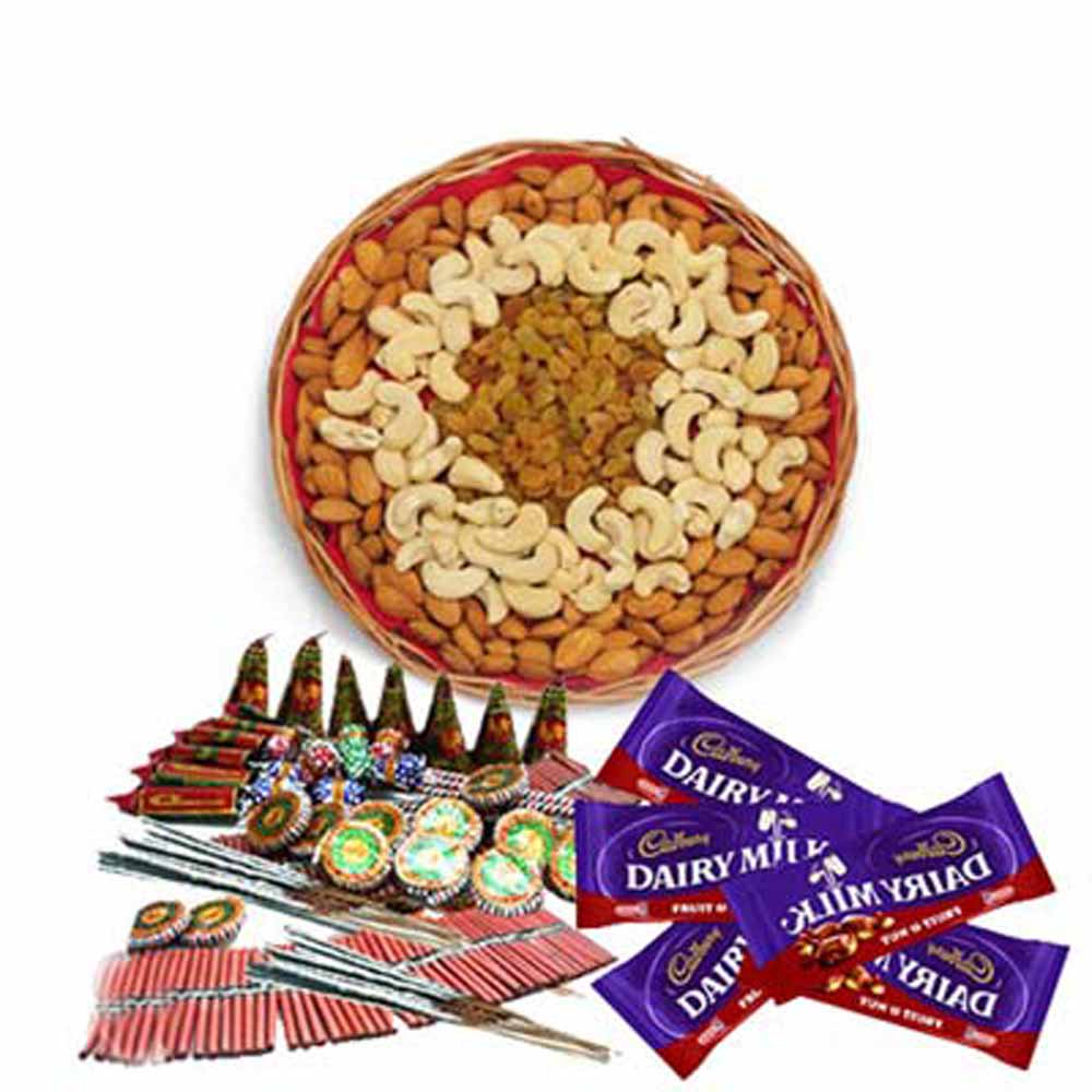 Diwali Combo of Crackers with Dry fruits and Chocolates