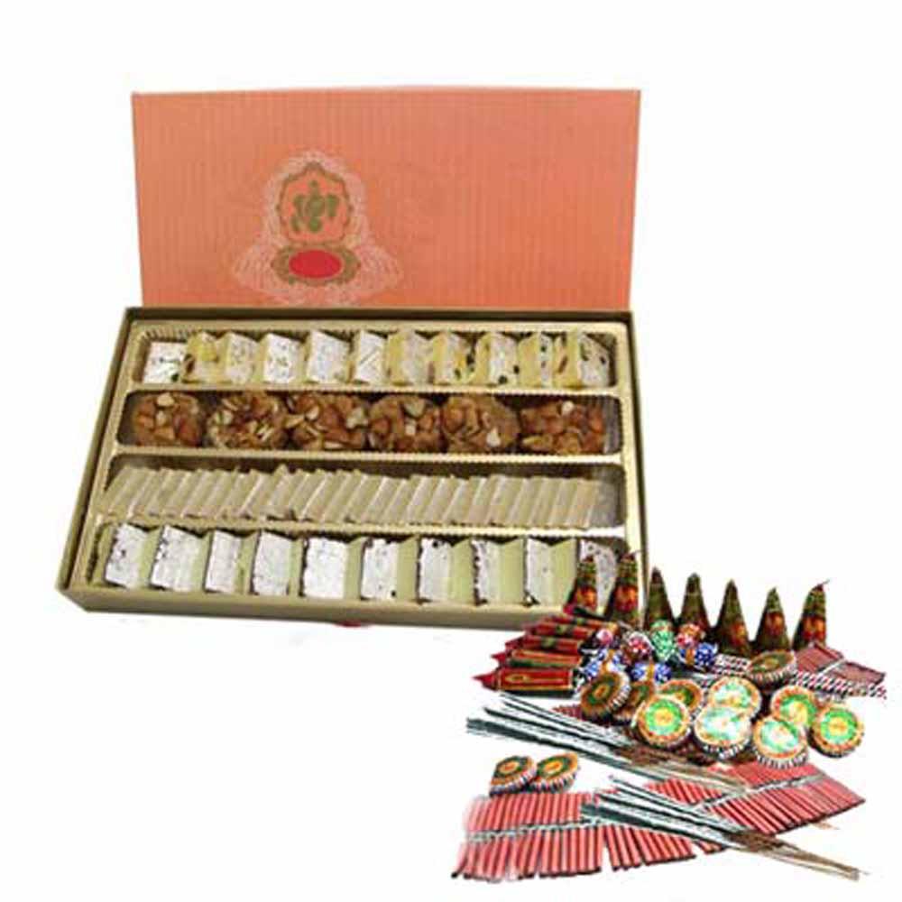 Diwali Special Kaju Katli Sweet with Firecrackers