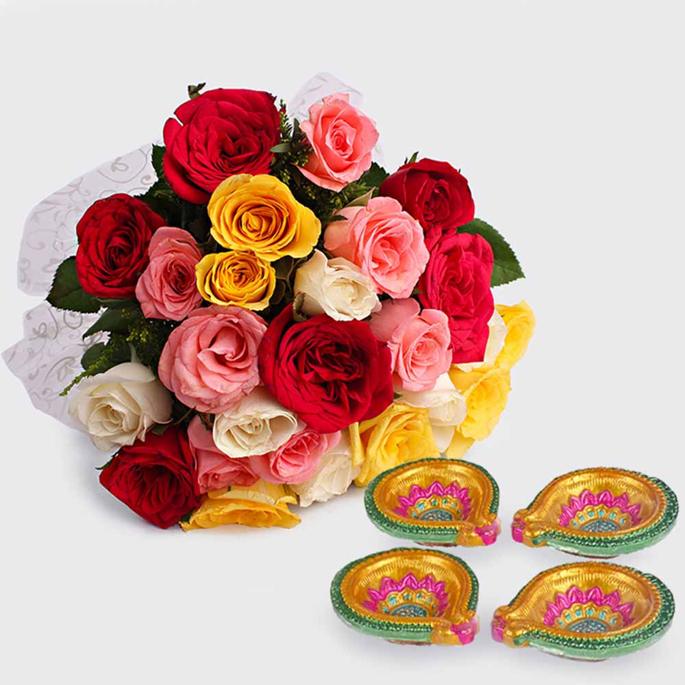 Lighting with Diwali Diyas and Roses