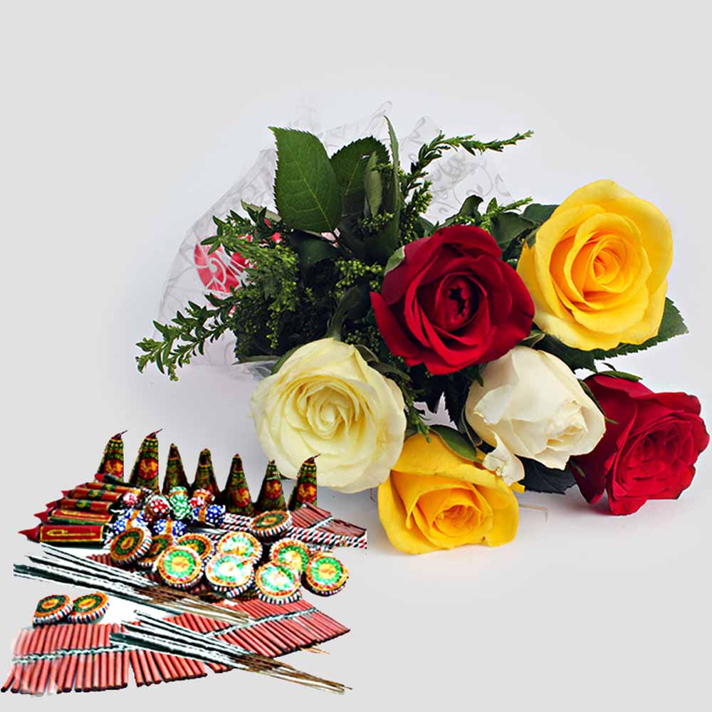 Bouquet of Mix Roses with Diwali Crackers