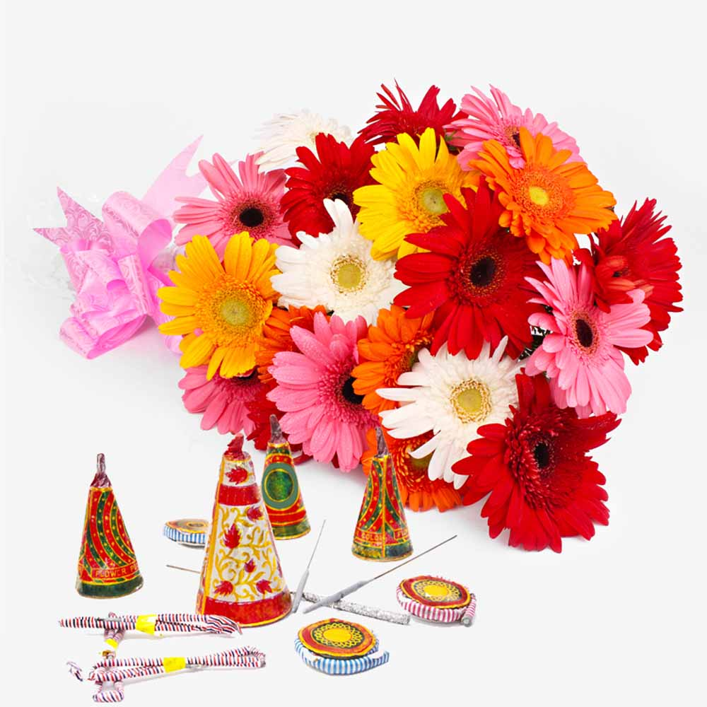 Bouquet of 20 Colorful Gerberas with Diwali Mix Fire crackers