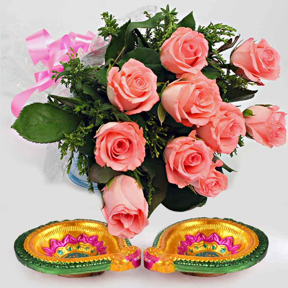 Pink Roses Bouquet with Diwali Diyas