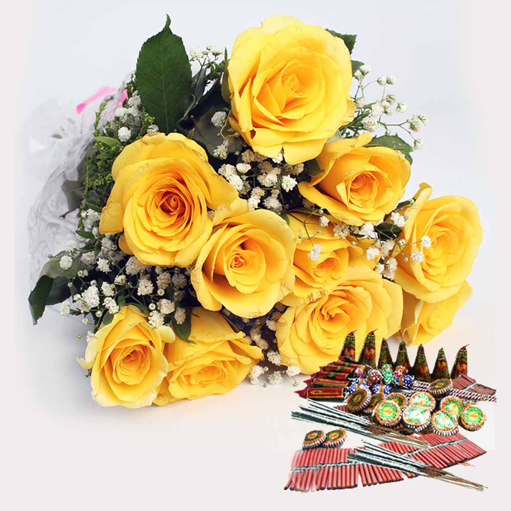 Yellow Roses Bouquet with Crackers