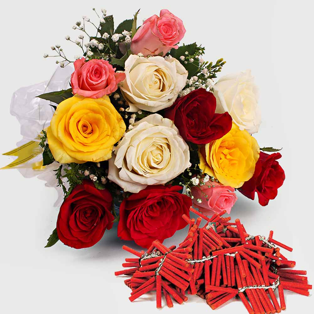 Crackers & More..-Diwali Combo Roses Bouquet with Fire Crackers