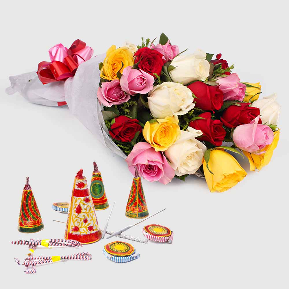 Diwali Hamper of Colorful Roses with Mix Fire crackers