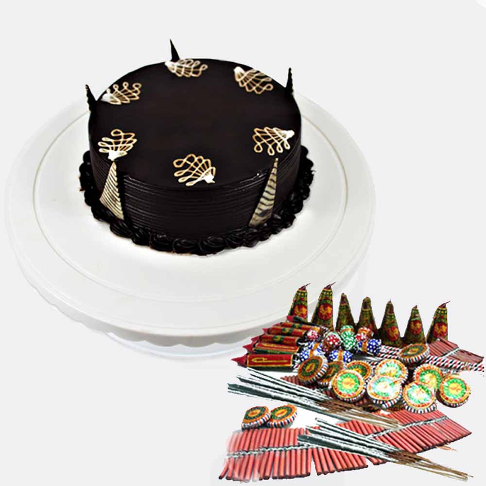 Diwali Cake with Crackers