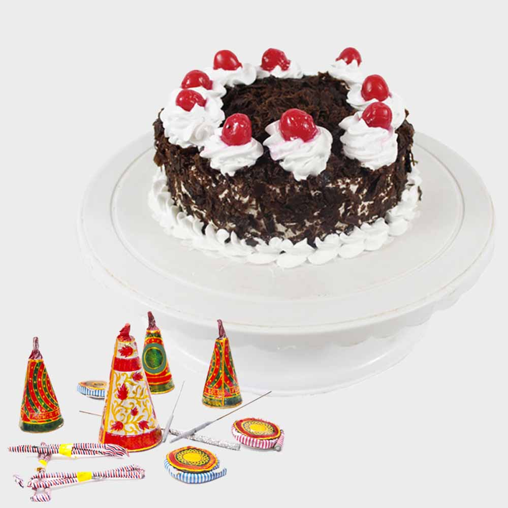 Black Forest Cake with Diwali Firecrackers