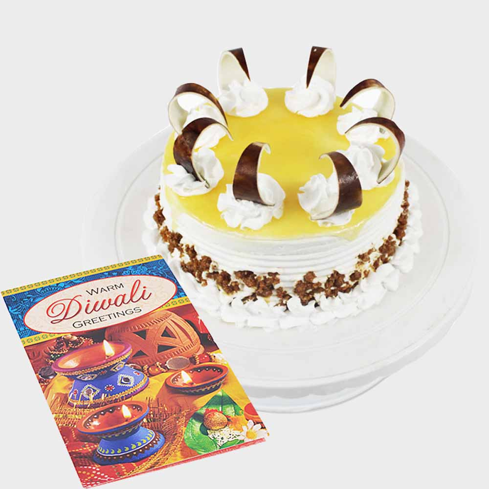 Round Butterscotch Cake with Diwali Crackers