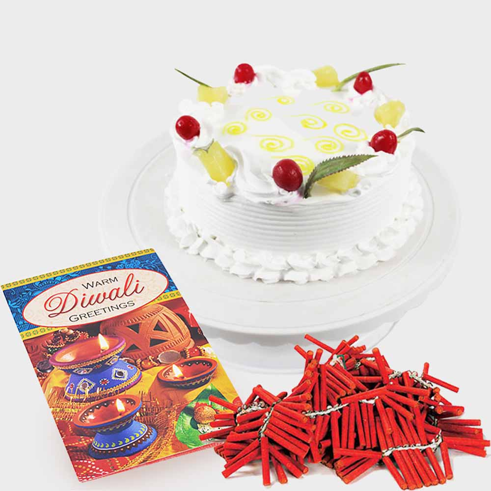 Diwali Card with Pineapple Cake and Fire Crackers