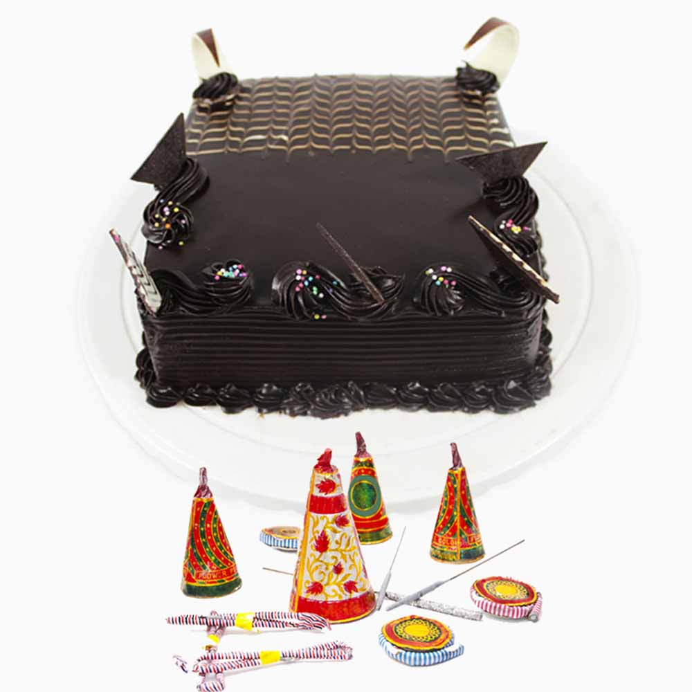 Square Chocolate Cake and Fire Crackers