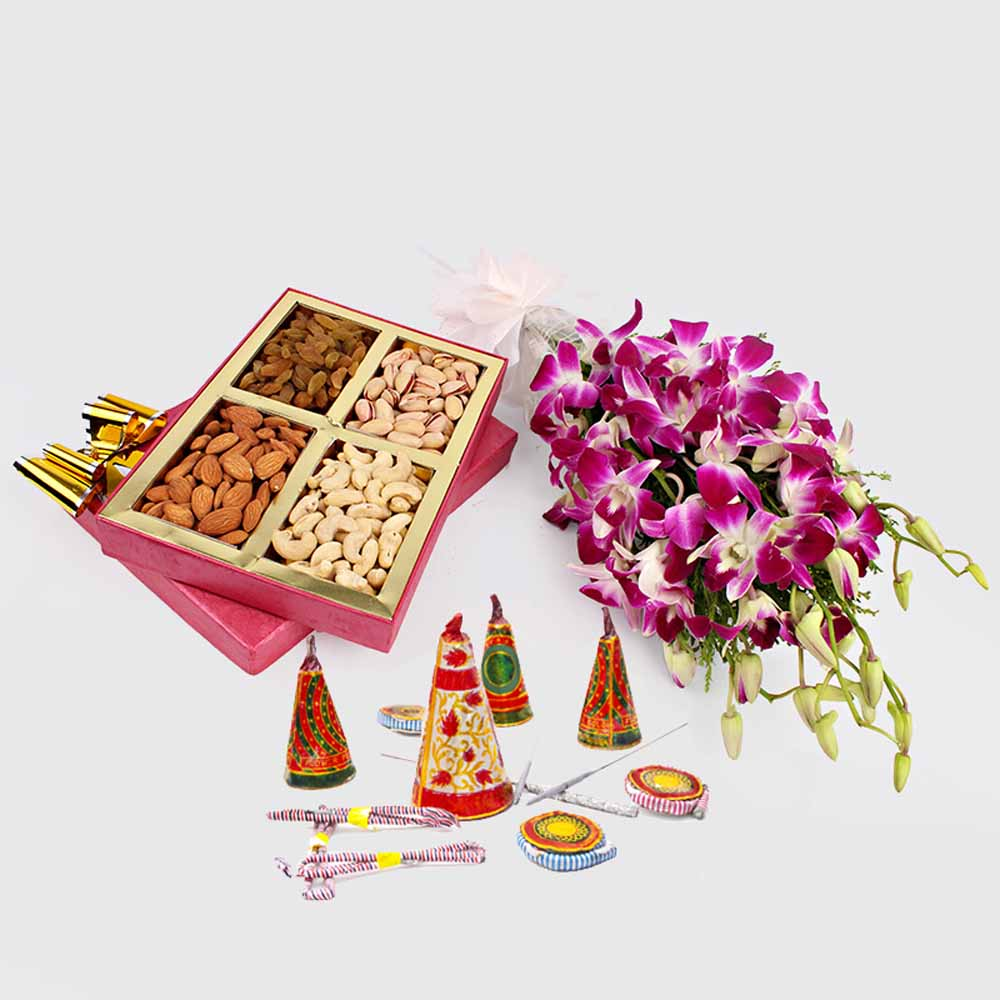 Crackers & More..-Orchids with Crackers and Dry fruits Diwali Combo