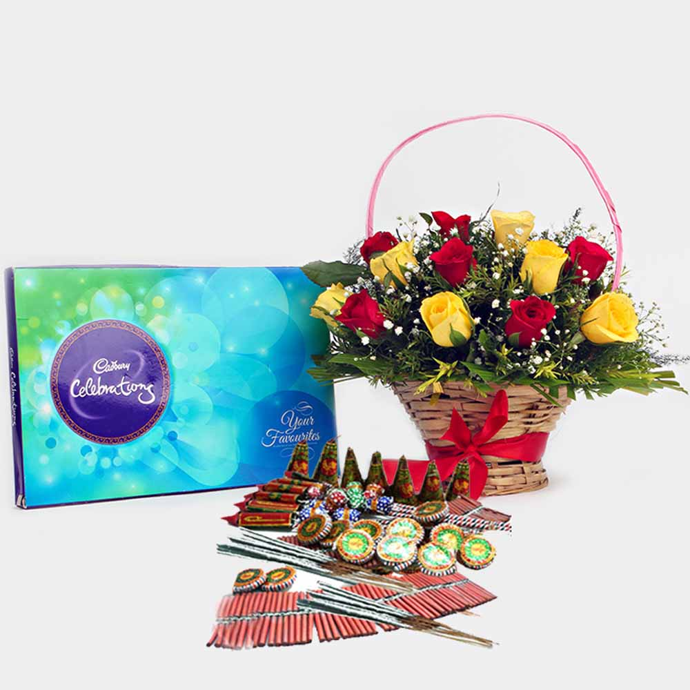 Crackers & More..-Diwali Fire crackers with Basket of Red and Yellow Roses and Cadbury Celebration Chocolate Pack