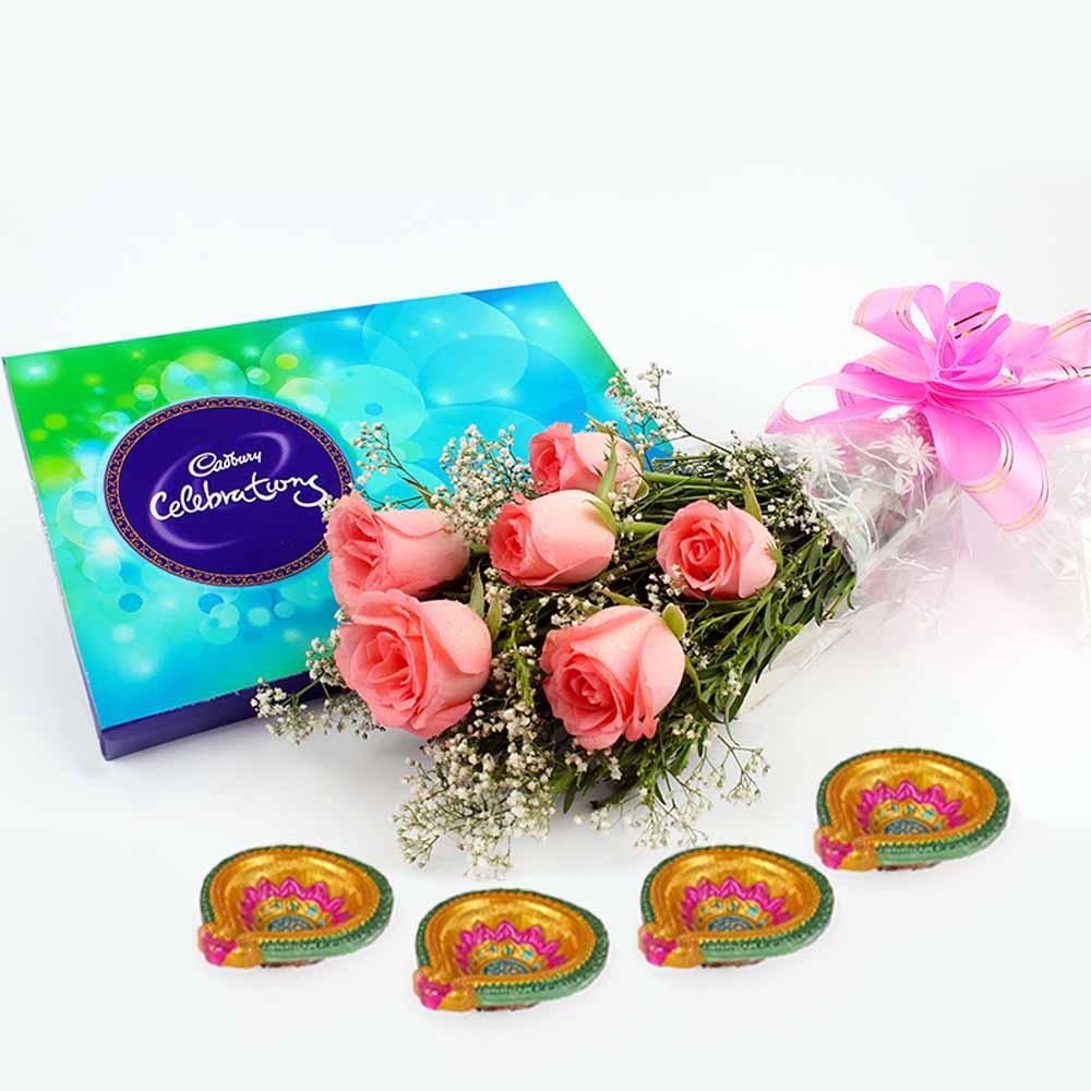 Pink Roses with Cadbury Celebration N Diwali Diya