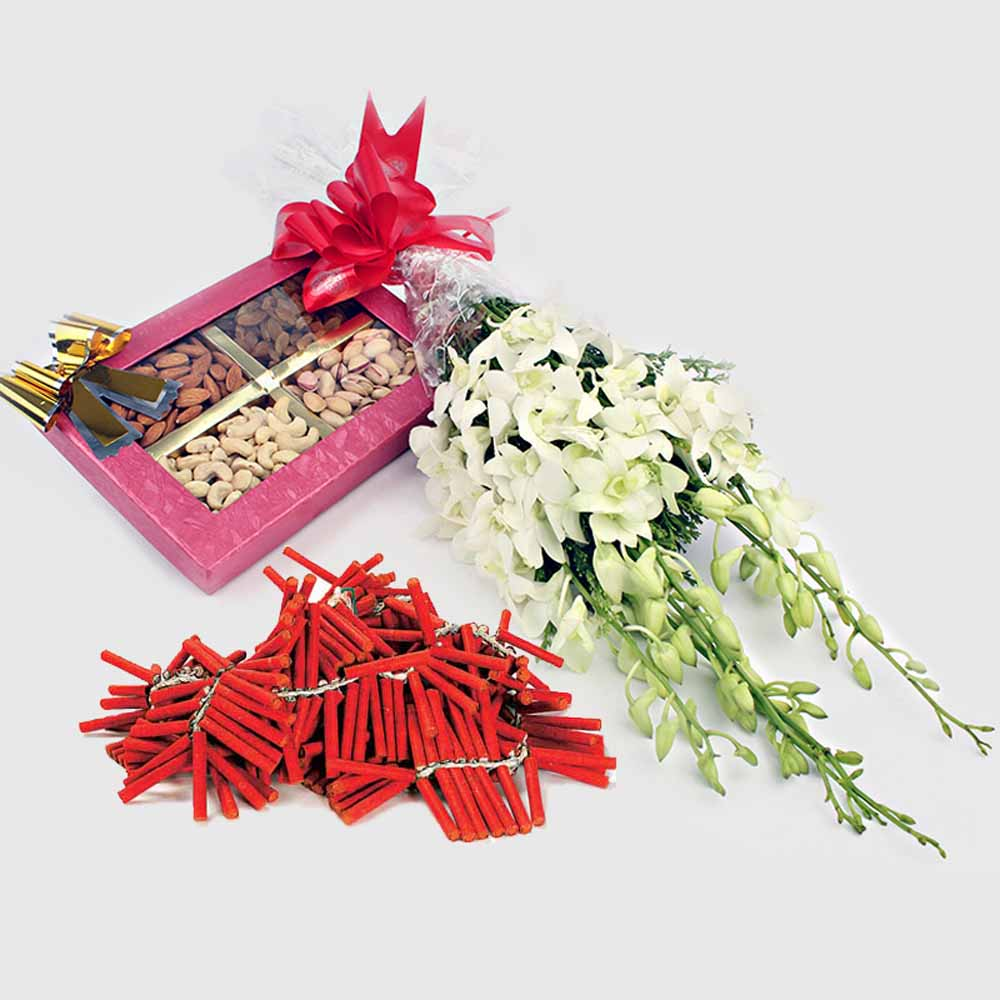 Dry Fruits with Orchid Flowers and Diwali Crackers
