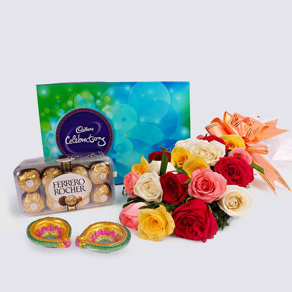Flowers with Chocolates-Diwali Combo of Colorful Roses with Rocher and Cadbury Celebration Chocolates