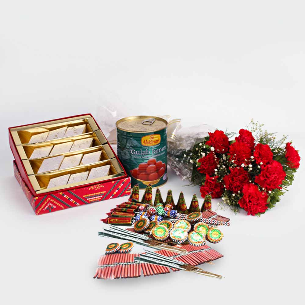 Diwali Best Gift of Crackers and Red Carnations Bunch with Kaju Katli sweet