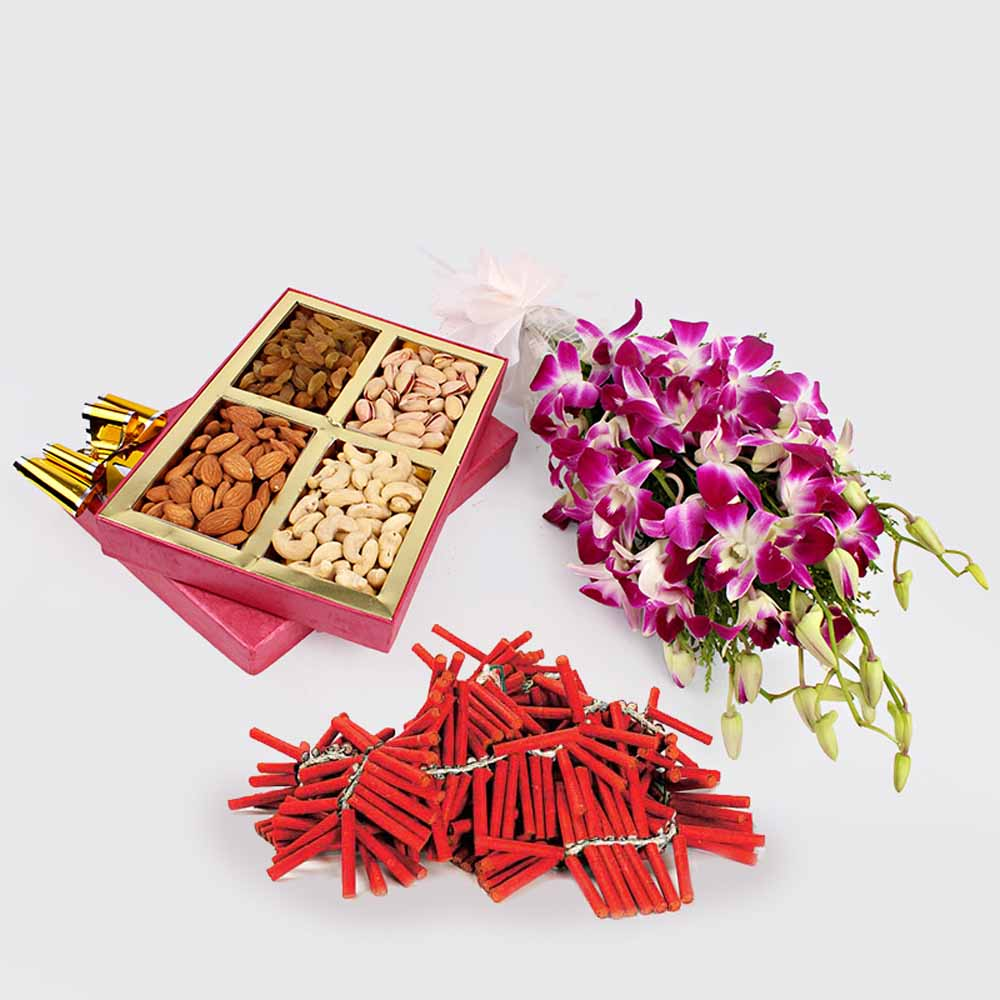 Dry Fruits with Orchid Flowers and Crackers
