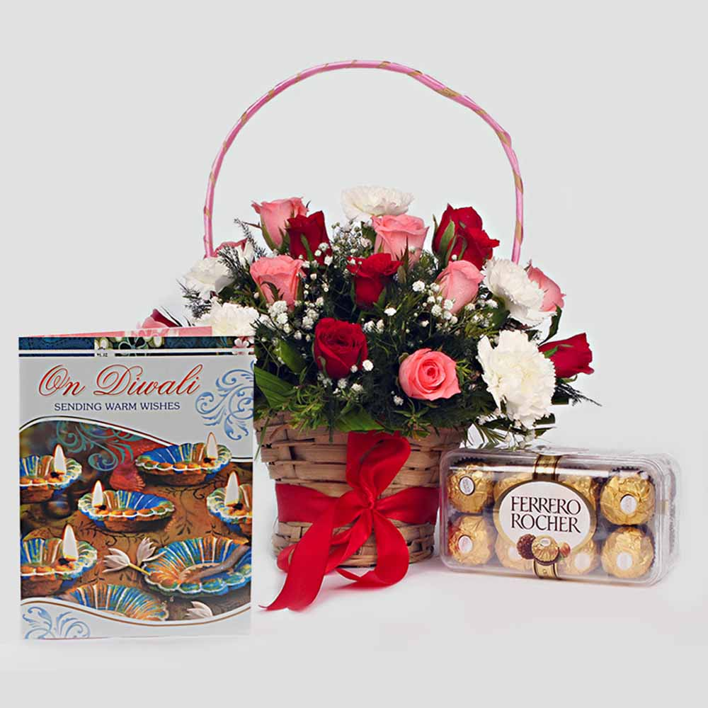 Basket of Mix Roses, Greeting Card and Ferrero Rocher