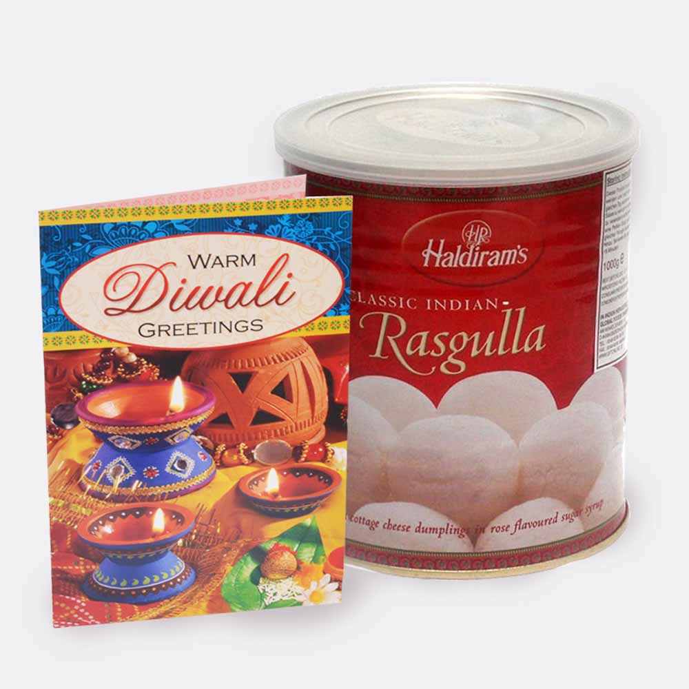 Rasgulla with Diwali Card