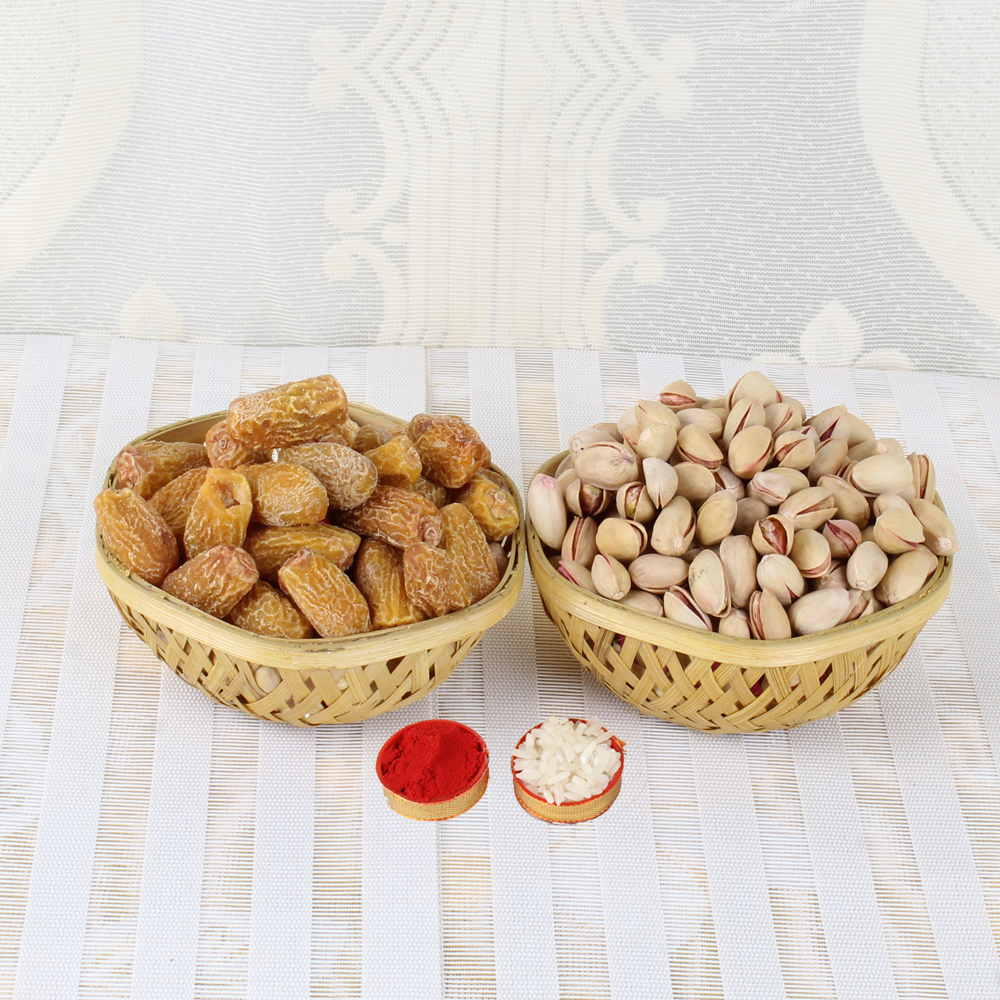 Bhai Dooj Gift Basket full of Pistachio and Dry Date