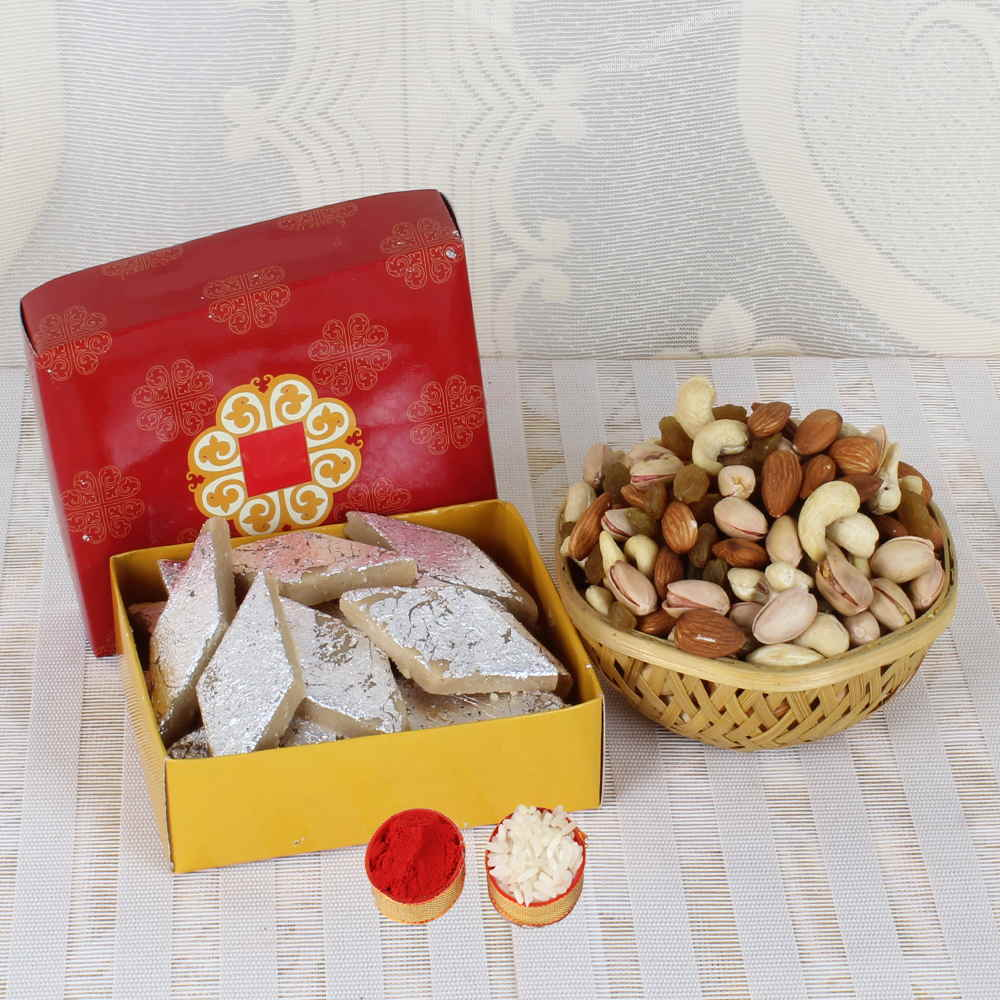 Dry Fruits-Same Day Gift Combo of Dry fruits and Kaju Katli