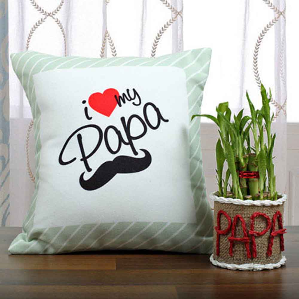 Father Day Lucky Bamboo N Cushion Pair For Papa