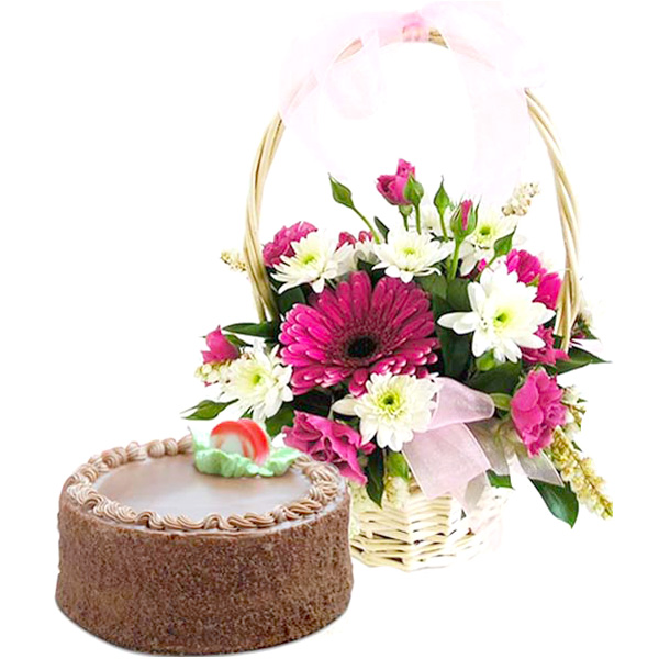 Beautiful Gerbera'S with Chocolate Truffle Cake