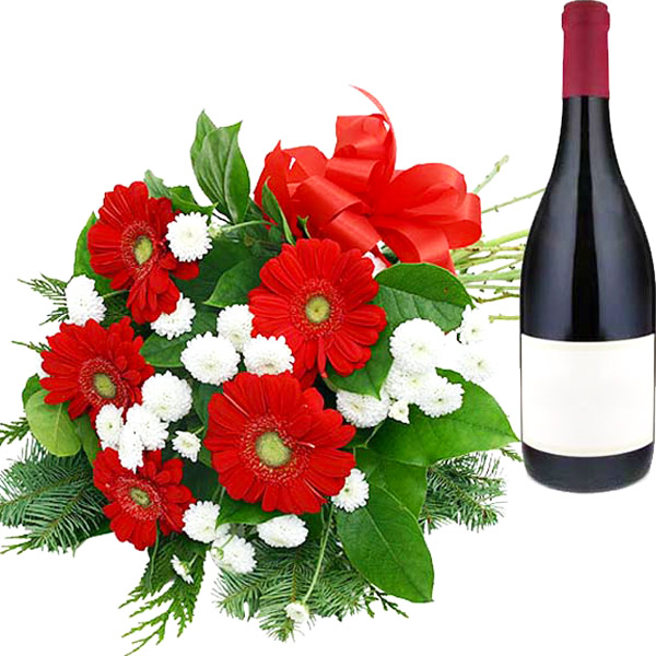 Red Gerberas with Wine