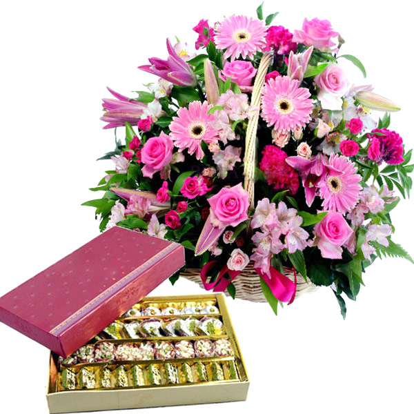 Pink Flowers N Assorted Sweets