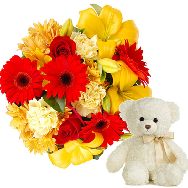 Colorful Flowers with Cute Teddy